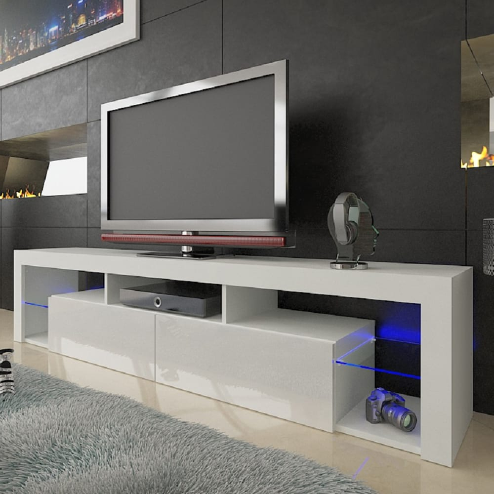 """Milano 200 White Wall Mounted Floating Modern 79"""" Tv Stand Intended For Fashionable Milano White Tv Stands With Led Lights (View 1 of 25)"""
