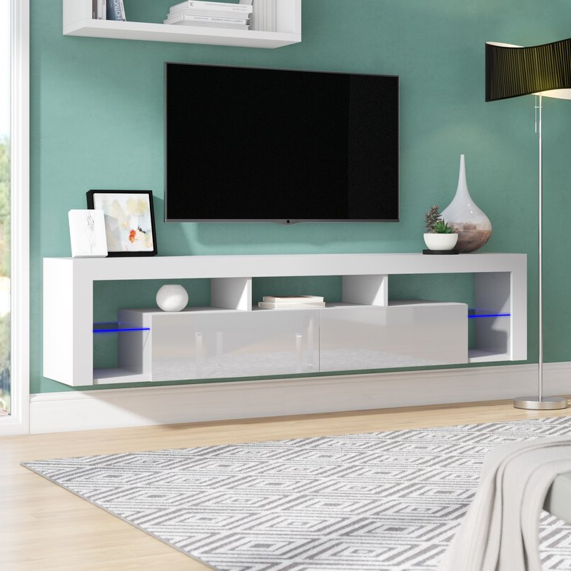 Milano White Tv Stands With Led Lights In Famous Orren Ellis Floating Milano Floating Tv Stand For Tvs Up (View 7 of 25)