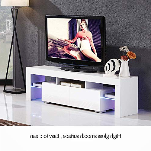 Milano White Tv Stands With Led Lights Inside Fashionable Modern White Tv Stand With Led Lights, High Gloss Tv Stand (View 17 of 25)