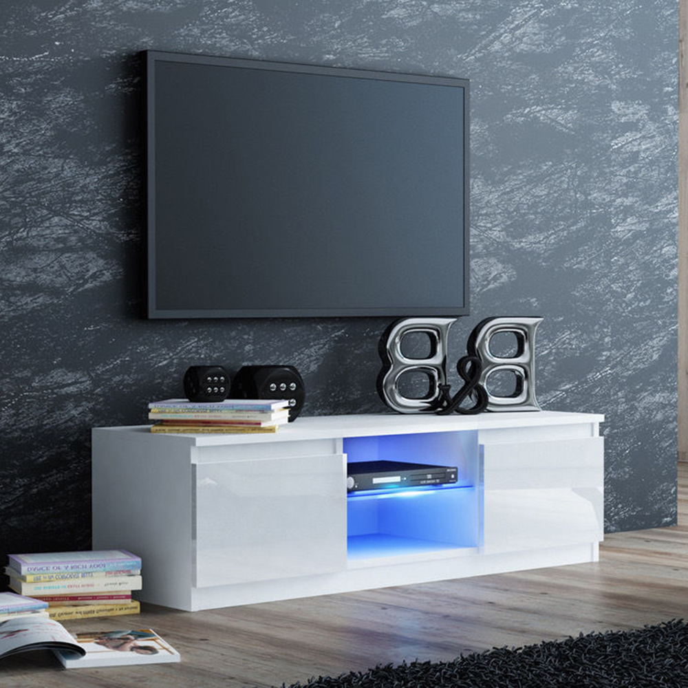 Milano White Tv Stands With Led Lights Intended For Most Current White High Gloss Tv Stand Console Unit Cabinet With Led (View 8 of 25)
