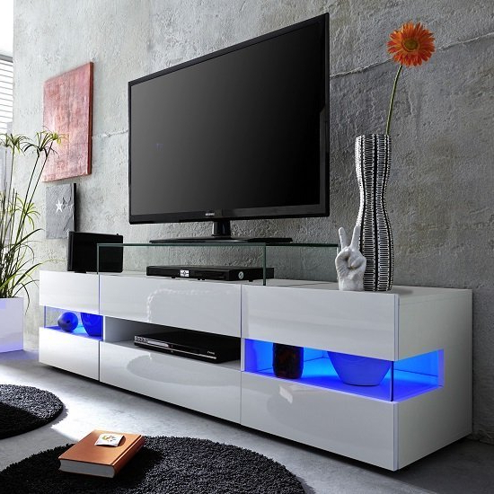 Milano White Tv Stands With Led Lights Pertaining To Well Liked Kirsten Tv Stand In White With Gloss Fronts And Led  (View 14 of 25)