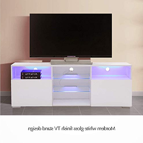Milano White Tv Stands With Led Lights Regarding Favorite High Gloss Tv Stand With Led Lights, White Tv Stand For  (View 25 of 25)