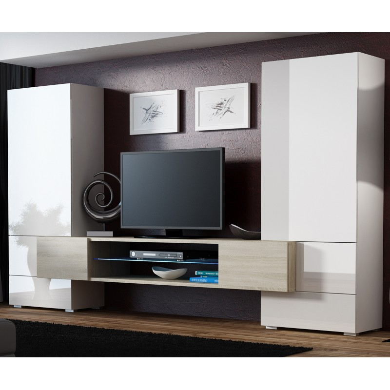Milano White Tv Stands With Led Lights Regarding Most Current Bmf Tori 2 Wall Unit Sonoma Oak White High Gloss Led (View 12 of 25)