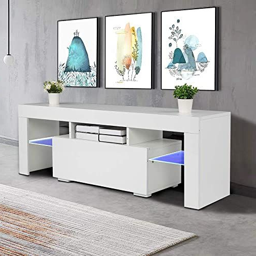 Milano White Tv Stands With Led Lights Throughout Most Recent New Bonnlo Modern White Tv Stand Led Light 55 Inch Tv Led (View 10 of 25)
