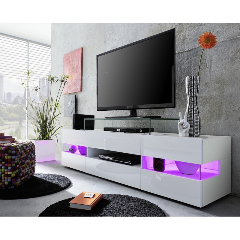 Milano White Tv Stands With Led Lights With Regard To 2018 Sonic – Tv Stand With Optional Led Lights – Tv Stands (View 22 of 25)