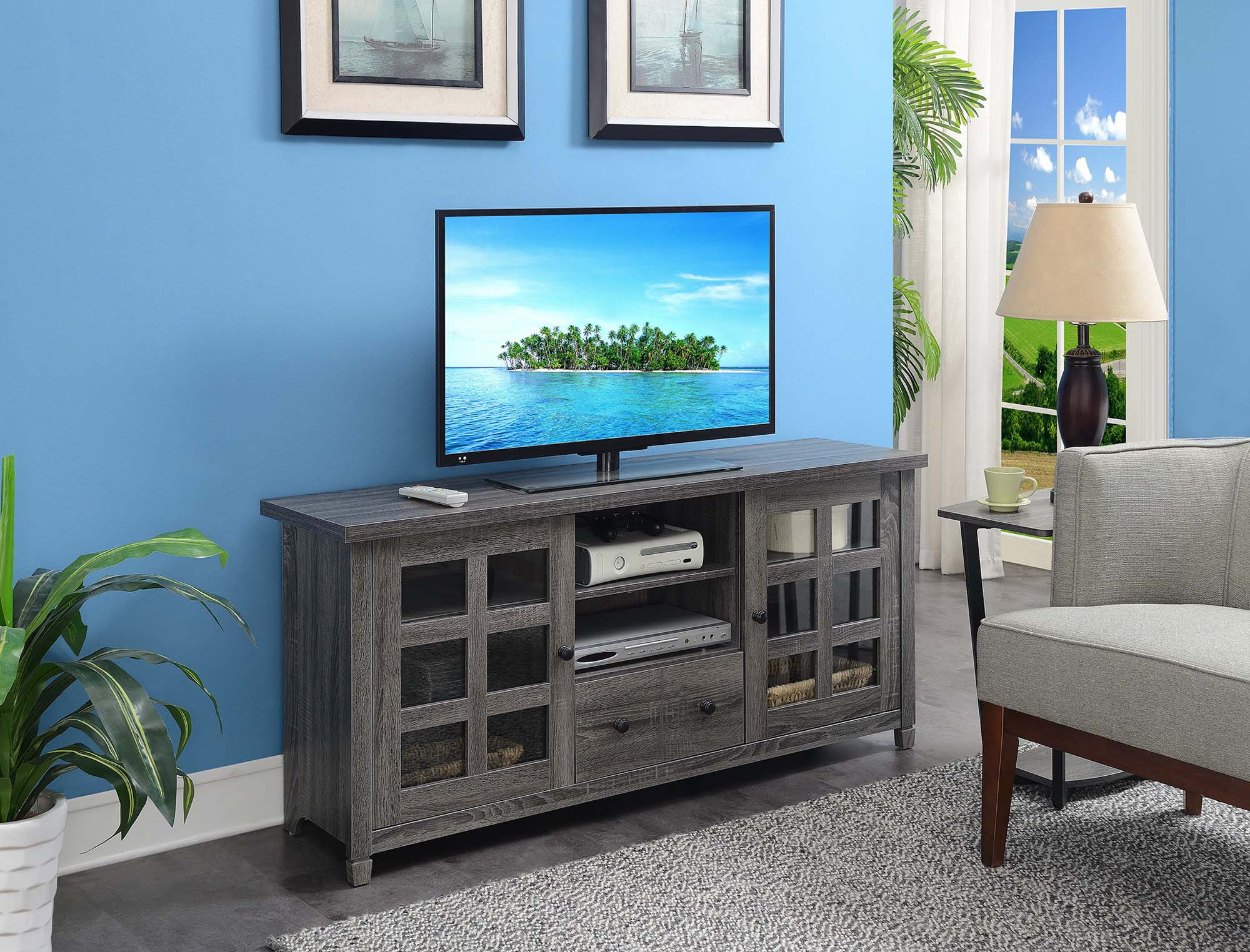 """Millen Tv Stands For Tvs Up To 60"""" In Fashionable Convenience Concepts Newport Park Lane 60"""" Tv Stand, Gray (View 25 of 25)"""