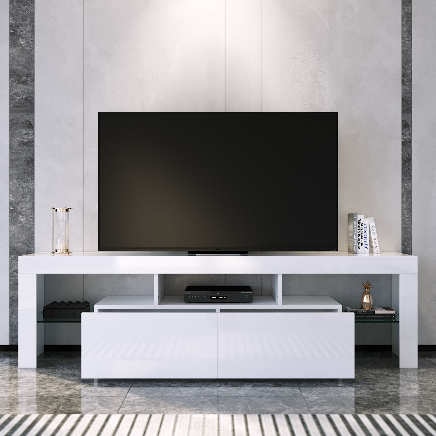 Modern 160cm Tv Unit Stand Matt Body & High Gloss Doors Intended For Current 57'' Led Tv Stands With Rgb Led Light And Glass Shelves (View 2 of 10)