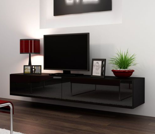 Modern Black Floor Glass Tv Stands For Tvs Up To 70 Inch Within 2017 Black Gloss Tv Stands For 42 50 56 75 Inch Flat Screen (View 6 of 10)