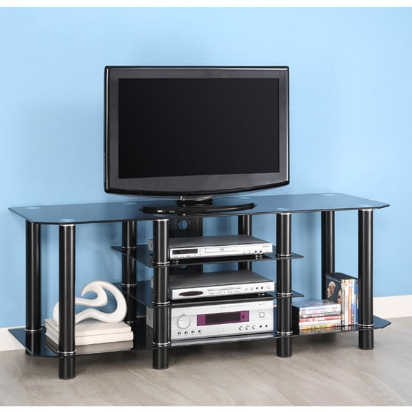 Modern Black Floor Glass Tv Stands For Tvs Up To 70 Inch Within Fashionable Shop Black Glass 60 Inch Tv Stand – Overstock –  (View 10 of 10)