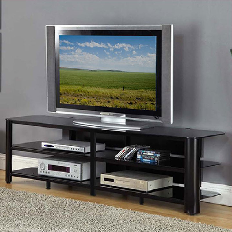 Modern Black Floor Glass Tv Stands With Mount Pertaining To Most Current Innovex Oxford Series 75 Inch Flat Screen Tv Stand Black (View 5 of 10)