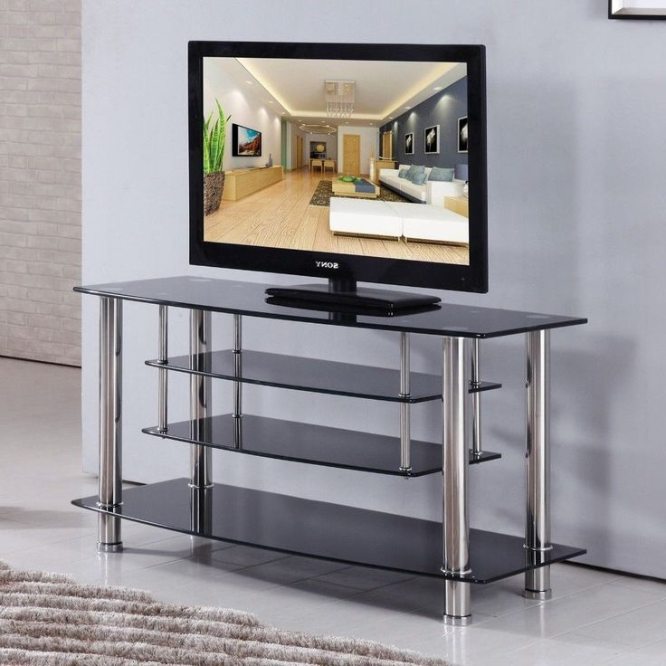 Modern Black Floor Glass Tv Stands With Mount With Best And Newest Black Chrome Tiered Tempered Glass Tv Stand Shelves (View 7 of 10)