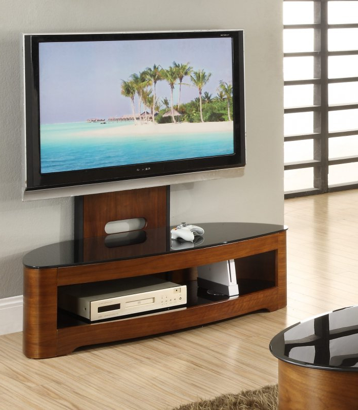 Modern Black Floor Glass Tv Stands With Mount With Current Jual Florence Walnut & Black Glass Curved Wood Cantilever (View 2 of 10)