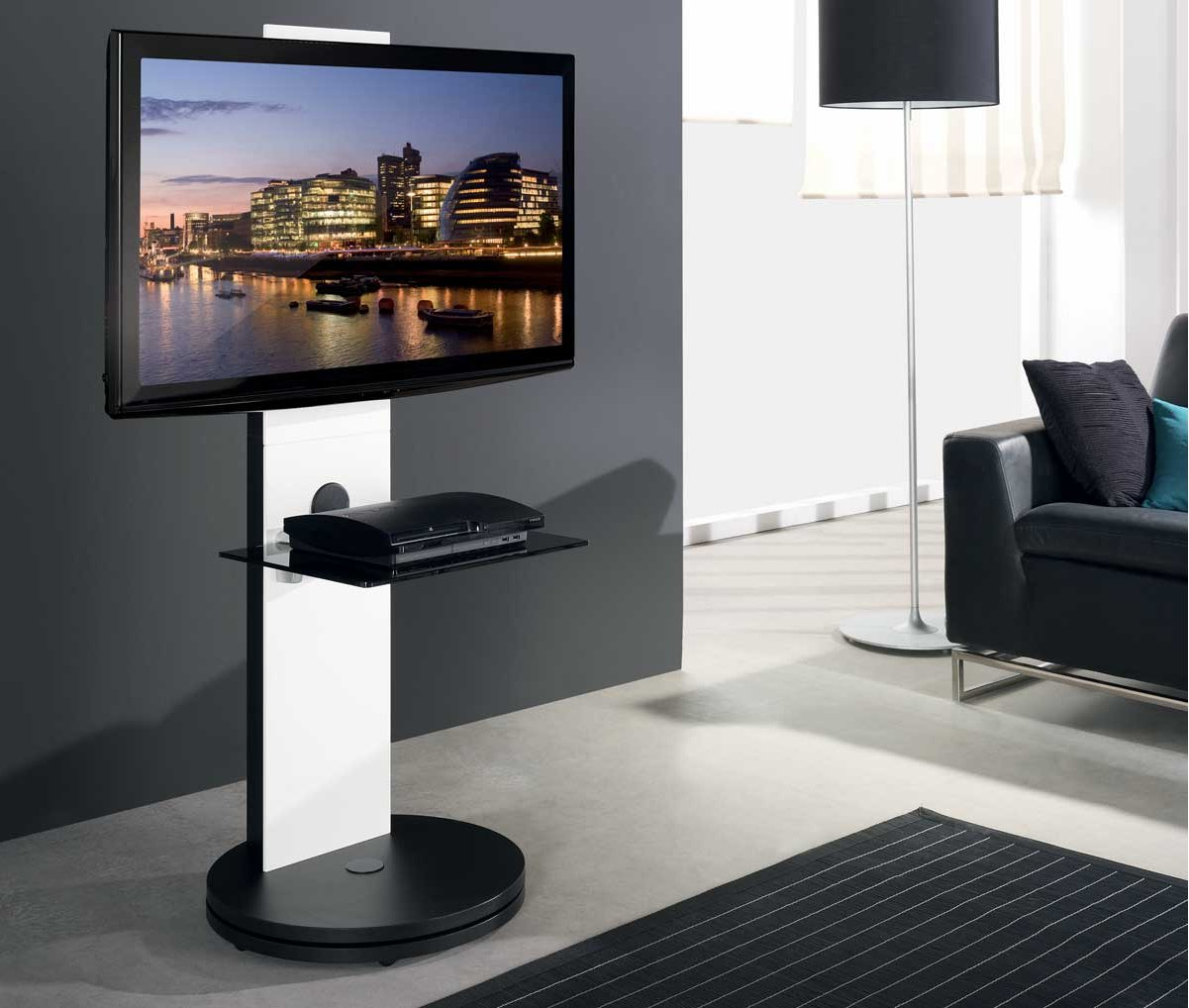 Modern Black Floor Glass Tv Stands With Mount With Most Popular B Tech Btf811 White Corner Cantilever Tv Stand (View 8 of 10)