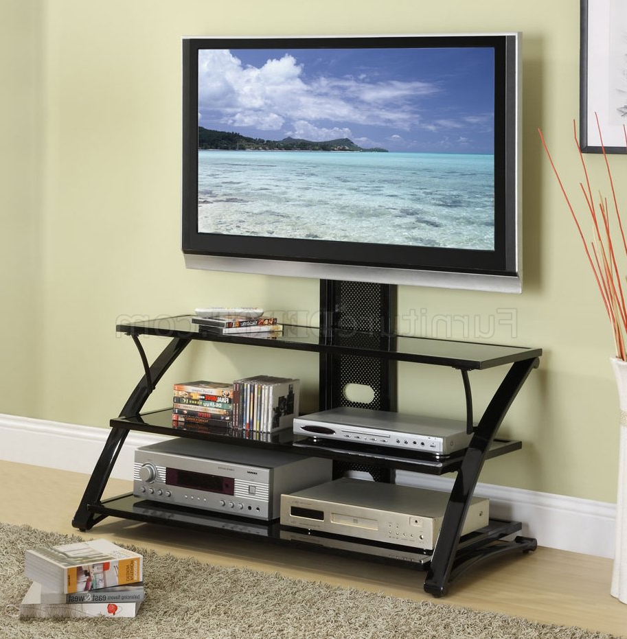 Modern Black Tabletop Tv Stands Intended For Trendy Black Finish Modern 3 Shelf Tv Stand (View 3 of 10)