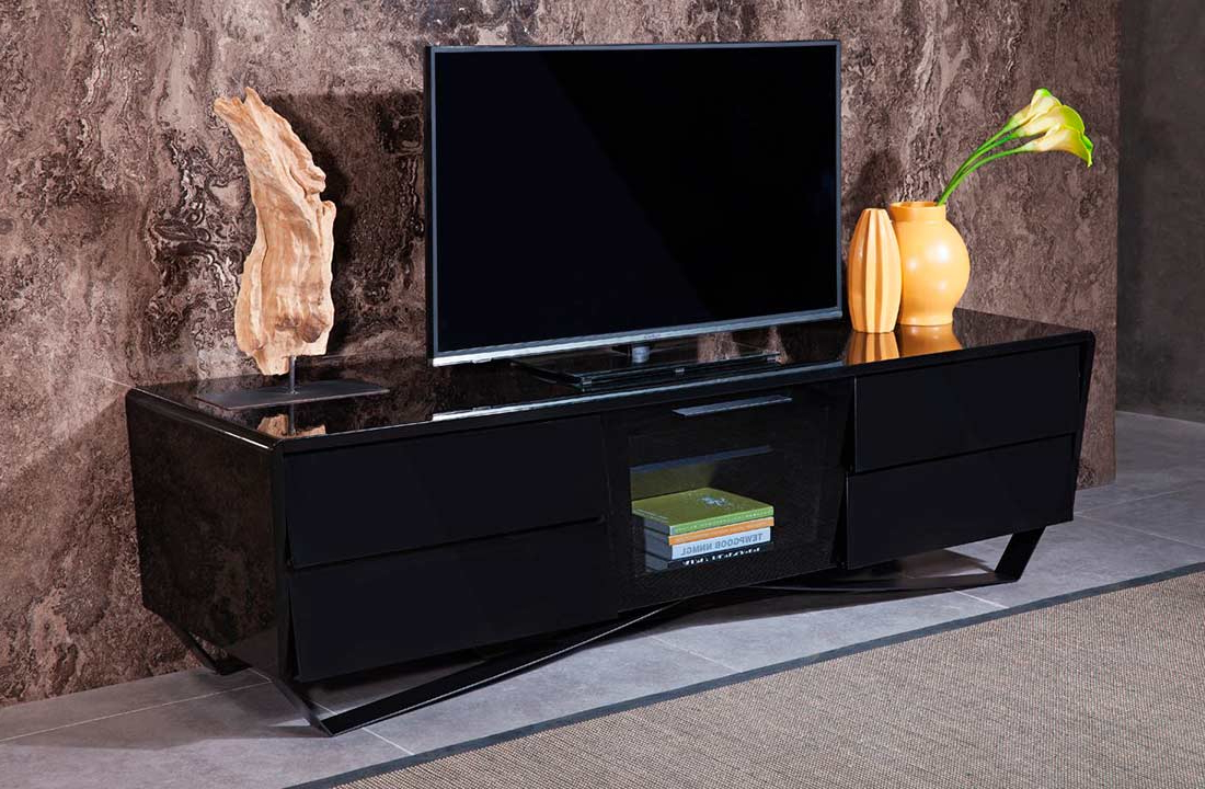 Modern Black Tabletop Tv Stands With Recent Black High Gloss Tv Stand Vg  (View 10 of 10)