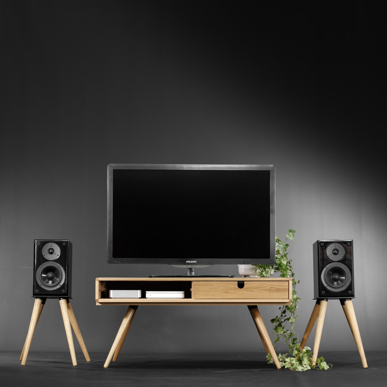 Modern Black Tabletop Tv Stands With Regard To Most Current Mid Century, Modern, Tv Table , Tv Stand Made Of Solid Oak (View 8 of 10)