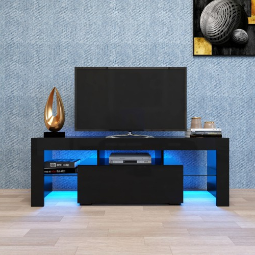 Modern Black Tabletop Tv Stands Within 2018 Modern Led Tv Stand With Storage Drawers, Tv Cabinet (View 5 of 10)