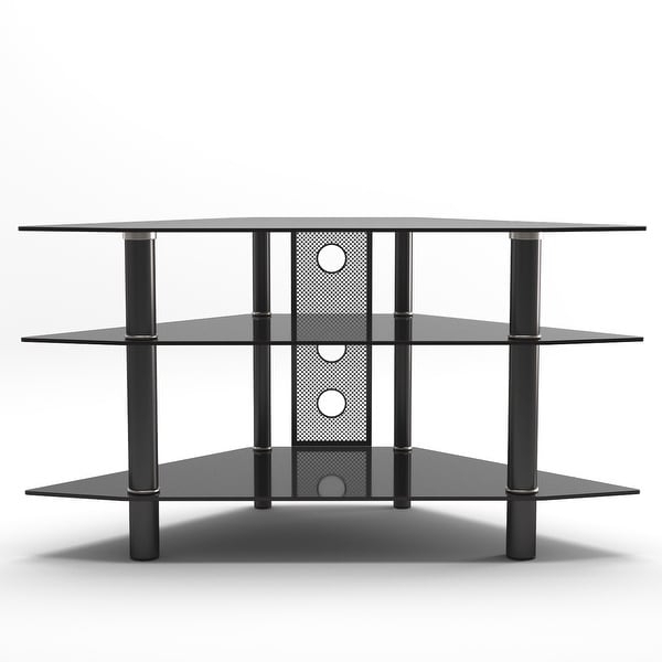 """Modern Black Tv Stands On Wheels Within Trendy Shop Ryan Rove Ruby Space Saving Modern 44"""" Corner Glass (View 5 of 10)"""