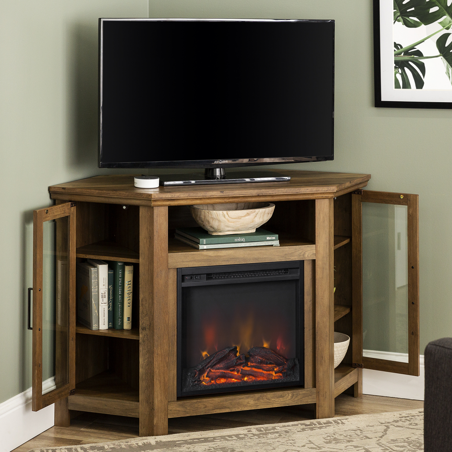 """Modern Corner Electric Fireplace 55"""" Wooden Tv Stand With Current Rustic Grey Tv Stand Media Console Stands For Living Room Bedroom (View 6 of 10)"""