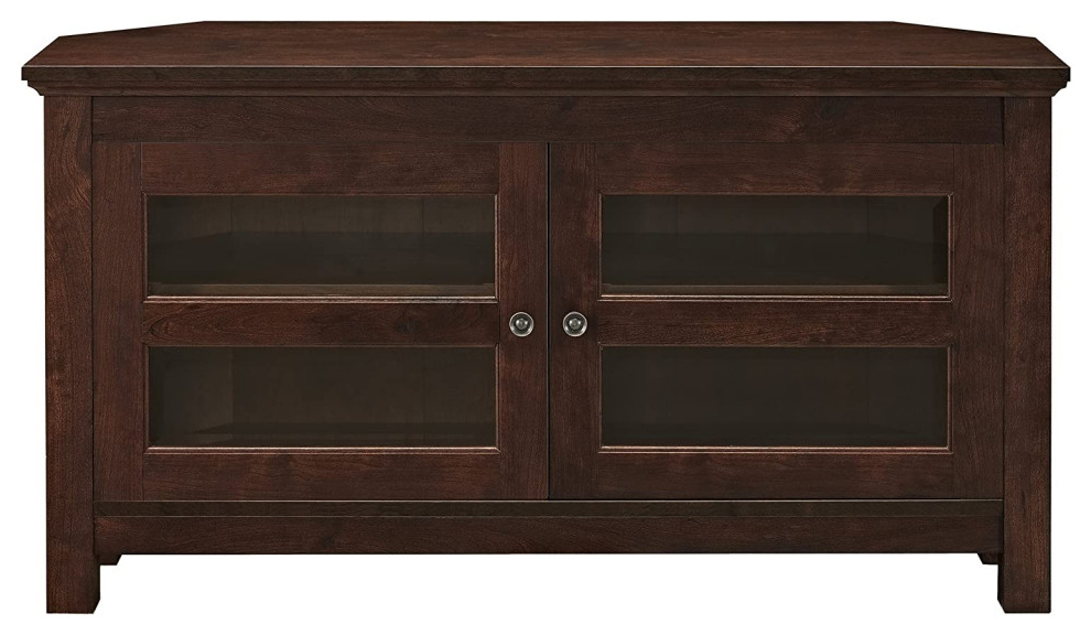 """Modern Farmhouse Corner Tv Stand, 2 Doors With Glass Within 2017 Basie 2 Door Corner Tv Stands For Tvs Up To 55"""" (View 6 of 10)"""