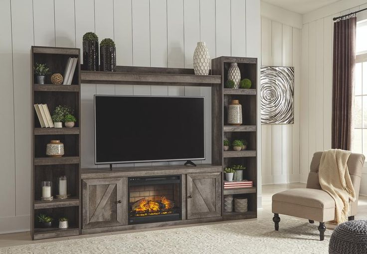 Modern Farmhouse Fireplace Credenza Tv Stands Rustic Gray Finish Within Most Up To Date Wynnlow 4piece Entertainment Center With Electric (View 6 of 10)