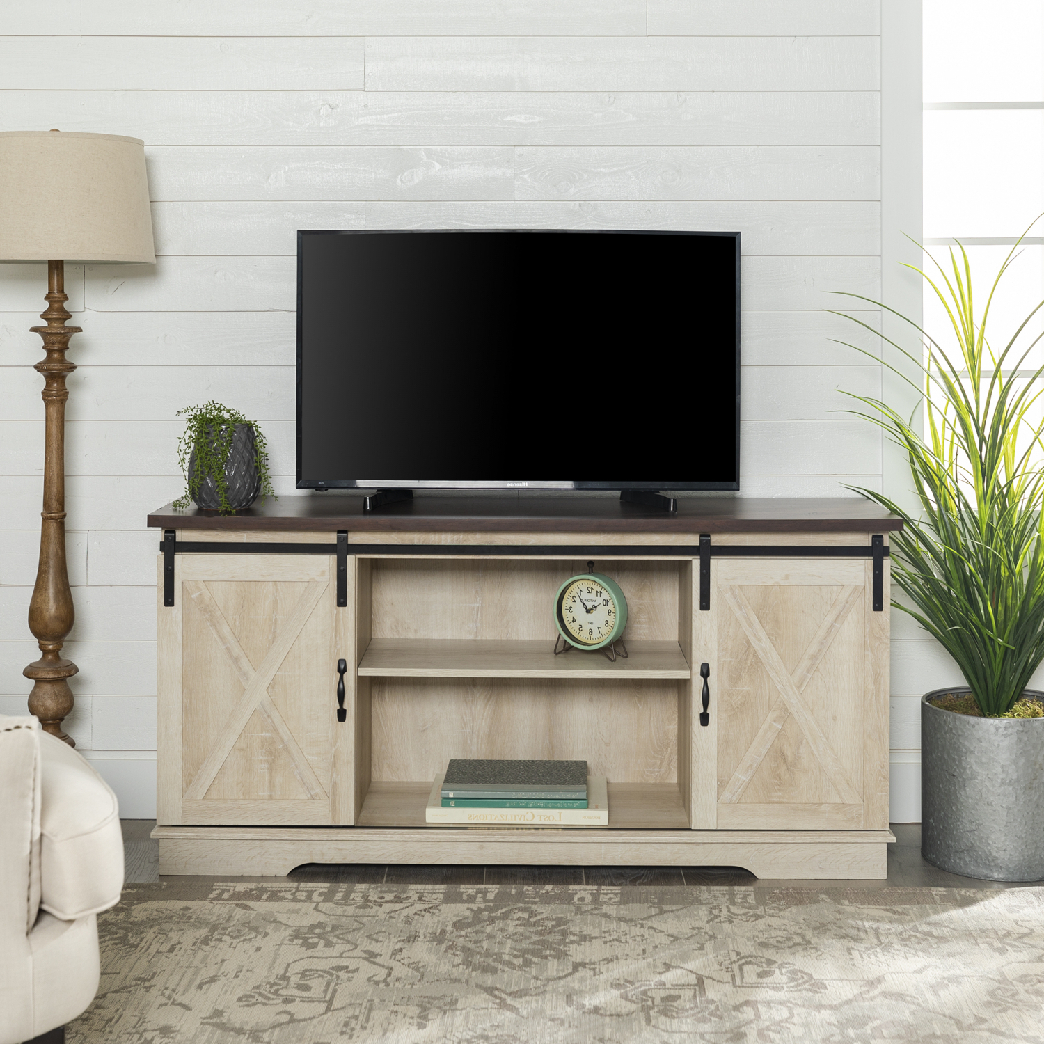 """Modern Farmhouse Style 58"""" Tv Stands With Sliding Barn Door For Well Known Manor Park Barn Door Tv Stand For Tvs Up To 65 In (View 8 of 10)"""
