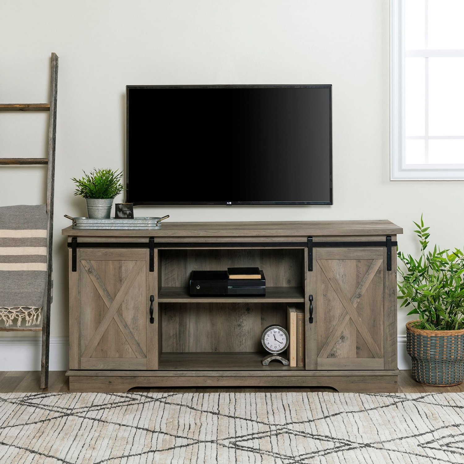 """Modern Farmhouse Style 58"""" Tv Stands With Sliding Barn Door In 2018 Pincody On Caseras Kitchen (View 4 of 10)"""