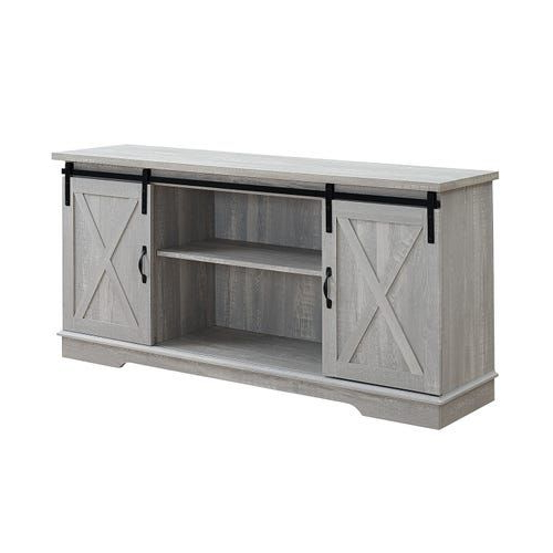 """Modern Farmhouse Style 58"""" Tv Stands With Sliding Barn Door Intended For Newest Stone Gray Farmhouse Sliding Barn Door 58"""" Tv Stand (View 5 of 10)"""
