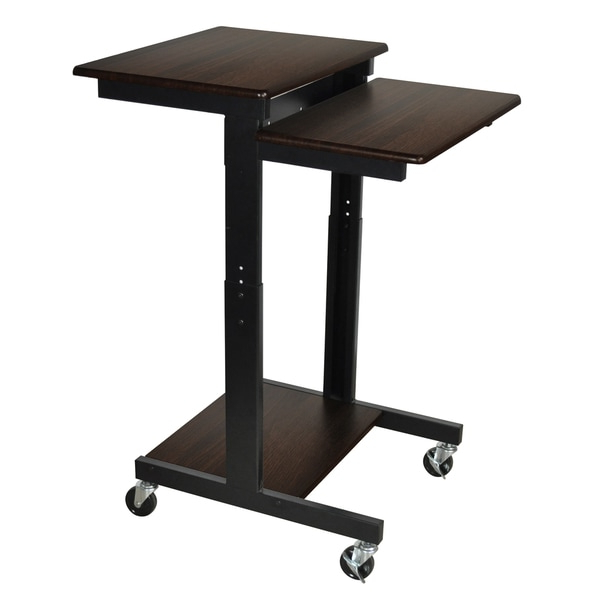 Modern Mobile Rolling Tv Stands With Metal Shelf Black Finish In Favorite Shop Luxor Walnut Adjustable Height Computer Workstation (View 6 of 10)