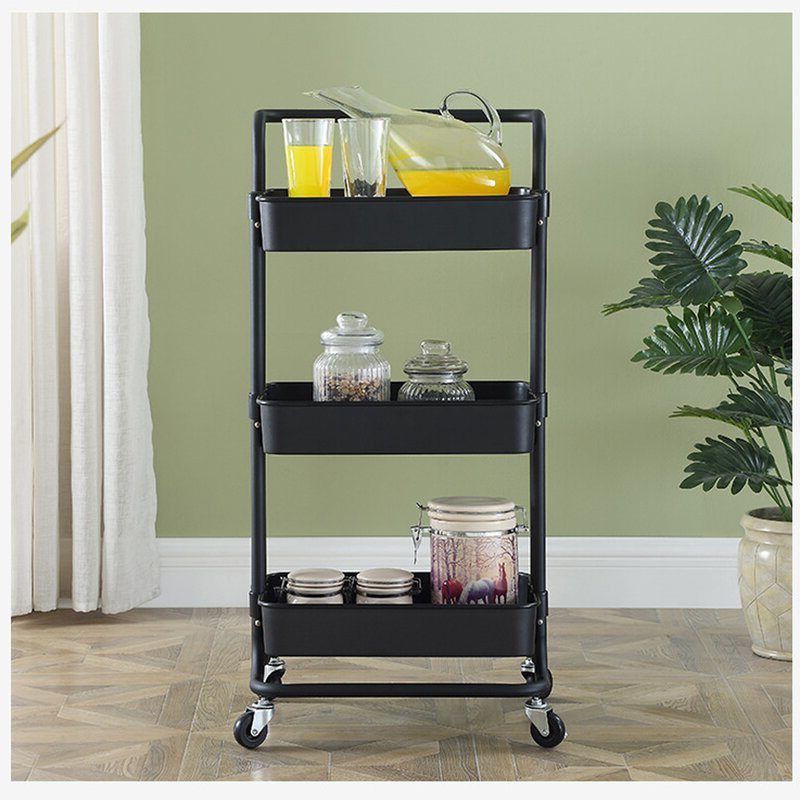 Modern Mobile Rolling Tv Stands With Metal Shelf Black Finish Inside Most Recently Released Kerrogee 3 Tier Rolling Multi Function Storage Trolley (View 2 of 10)