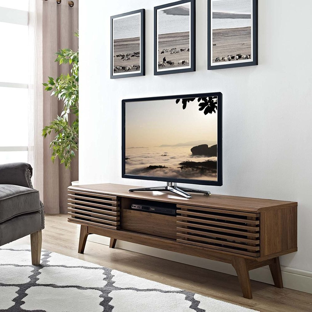 """Modern Sliding Door Tv Stands Intended For Well Known Modern Low 59"""" Tv Media Console Stand Mid Century Retro (View 3 of 10)"""