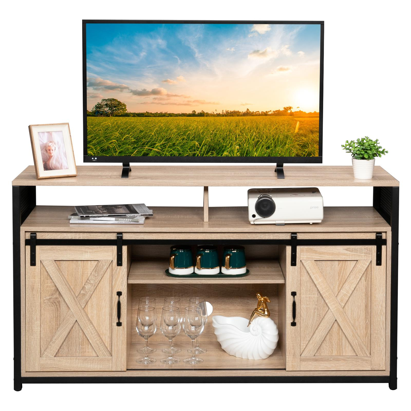 Modern Sliding Door Tv Stands Pertaining To Newest Salonmore Modern Farmhouse Sliding Barn Door Wood  (View 2 of 10)