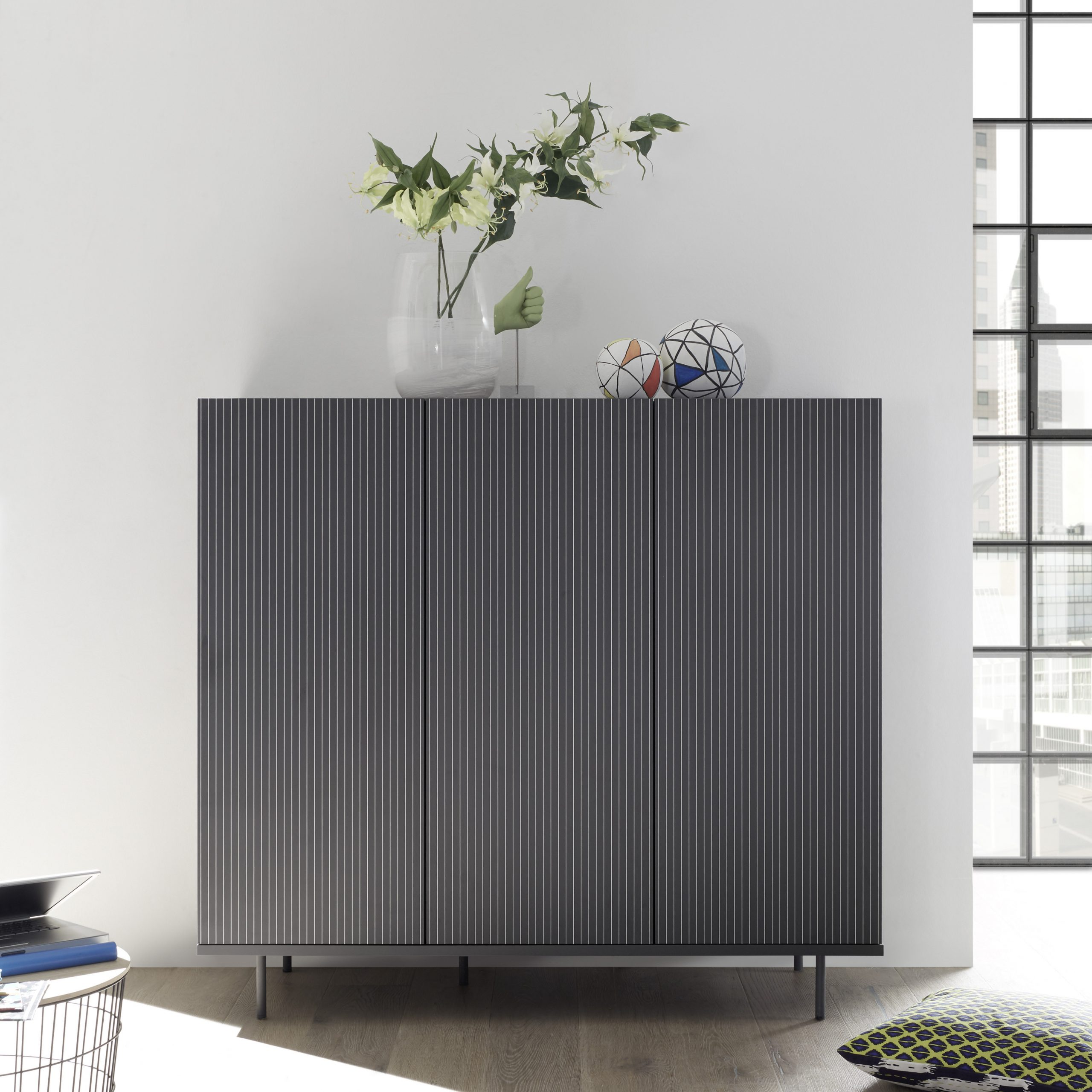 Monza Tv Stands Intended For Preferred Monza Grey Highboard With Pinstripe Stencil – Furniture (View 6 of 10)