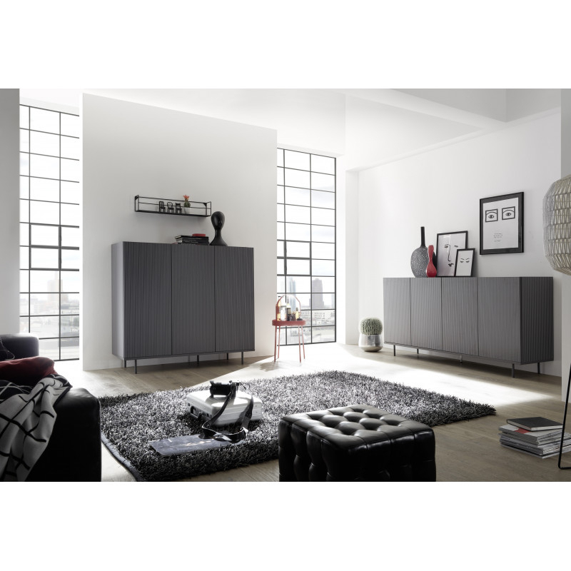 Monza Tv Stands With Regard To Best And Newest Monza Grey Sideboard With Pinstripe Stencil – Furniture (View 8 of 10)