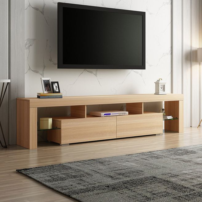 Most Current 200cm Tv Stand Cabinet 2 Drawers Entertainment Unit Wooden Within High Glass Modern Entertainment Tv Stands For Living Room Bedroom (View 10 of 10)