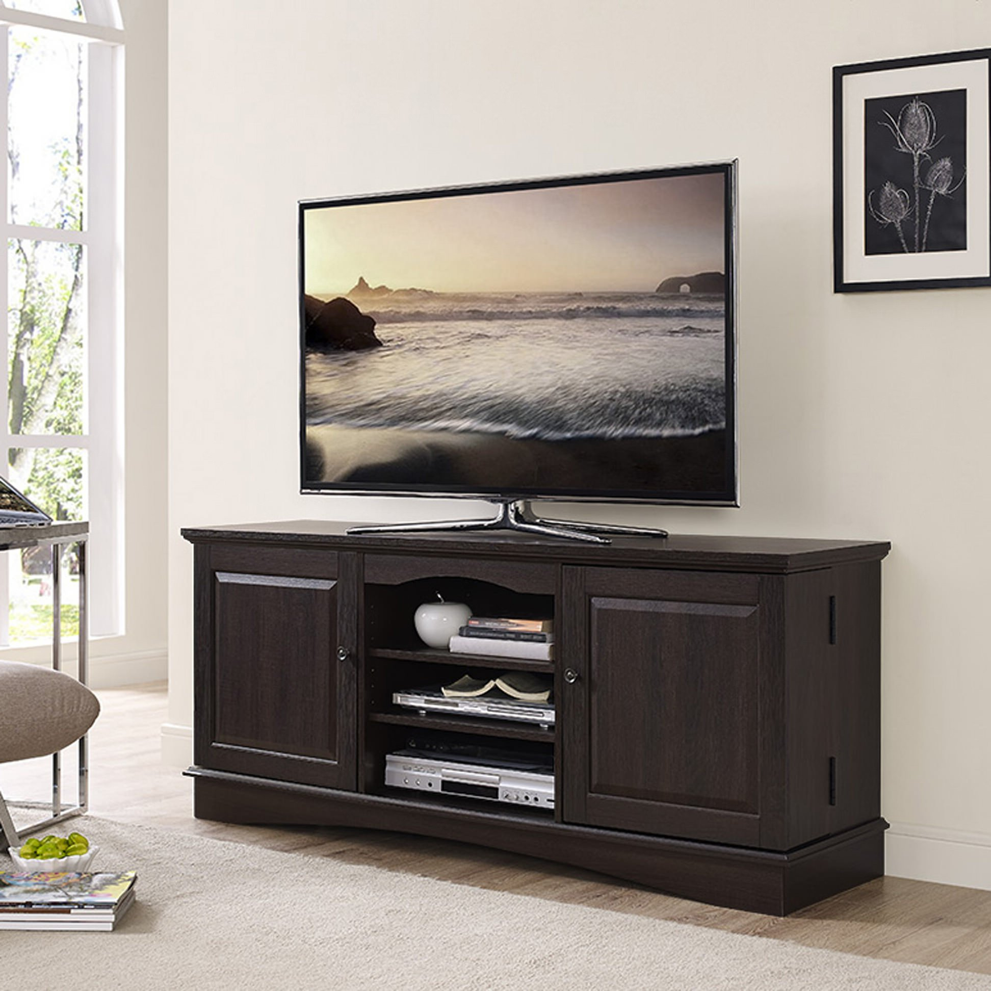 """Most Current 60 Inch Espresso Wood Tv Standwalker Edison With Kasen Tv Stands For Tvs Up To 60"""" (View 5 of 25)"""