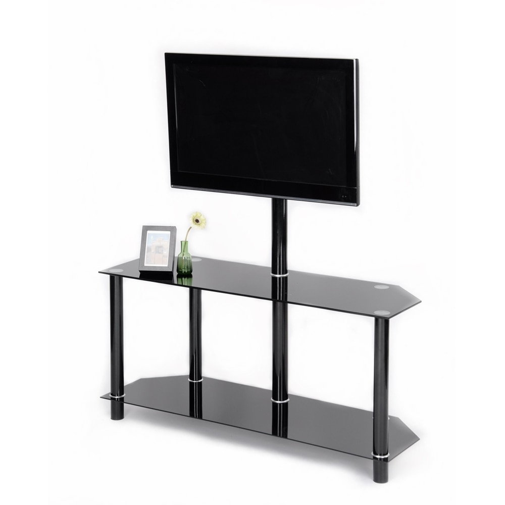 Most Current Aingoo Modern Black Tempered Safety Glass Tv Stand For Up With Modern Black Floor Glass Tv Stands With Mount (View 10 of 10)