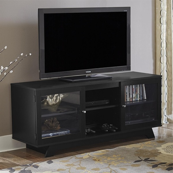 """Most Current Ameriwood Home Englewood Black 55 Inch Tv Stand With Basie 2 Door Corner Tv Stands For Tvs Up To 55"""" (View 7 of 10)"""