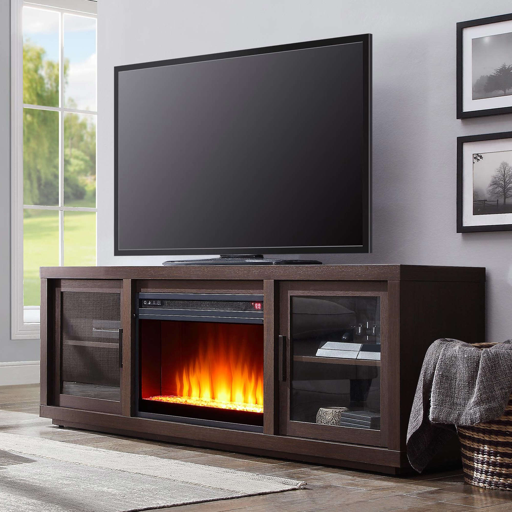 Most Current Better Homes & Gardens Steele Media Fireplace Console Intended For Fireplace Media Console Tv Stands With Weathered Finish (View 2 of 10)