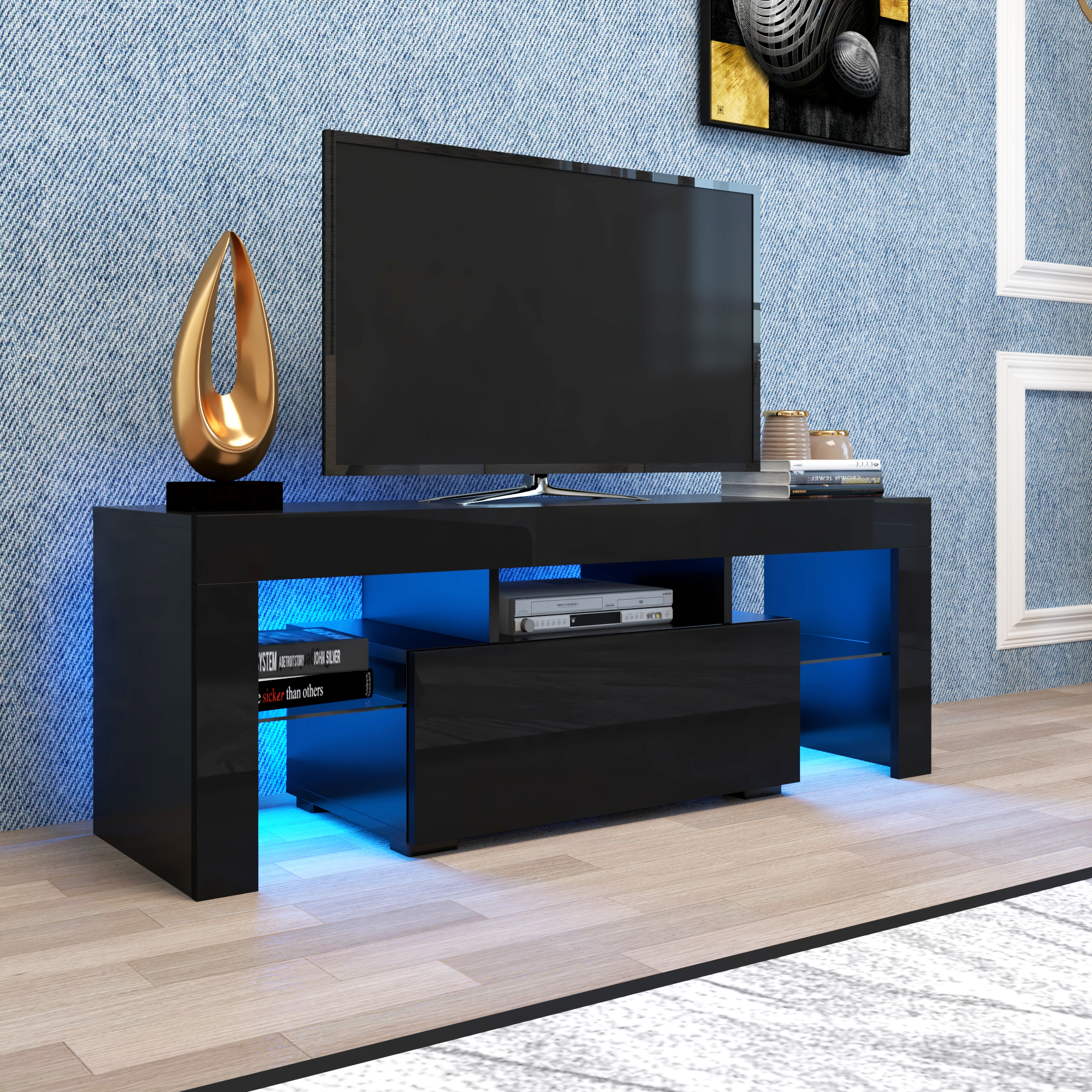 Most Current Black Tv Stand For Up To 65 Inch Tv, Yofe High Gloss Tv Inside 57'' Led Tv Stands Cabinet (View 1 of 10)
