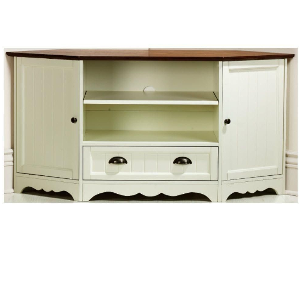 Most Current Compton Ivory Corner Tv Stands With Regard To Southport 1 Drawer Corner Media Cabinet In Ivory/oak (View 4 of 25)