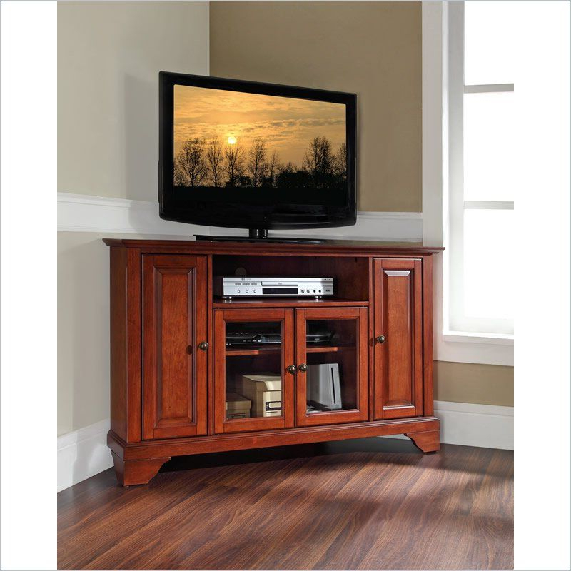"""Most Current Crosley Lafayette 48"""" Corner Tv Stand In Cherry (View 2 of 25)"""