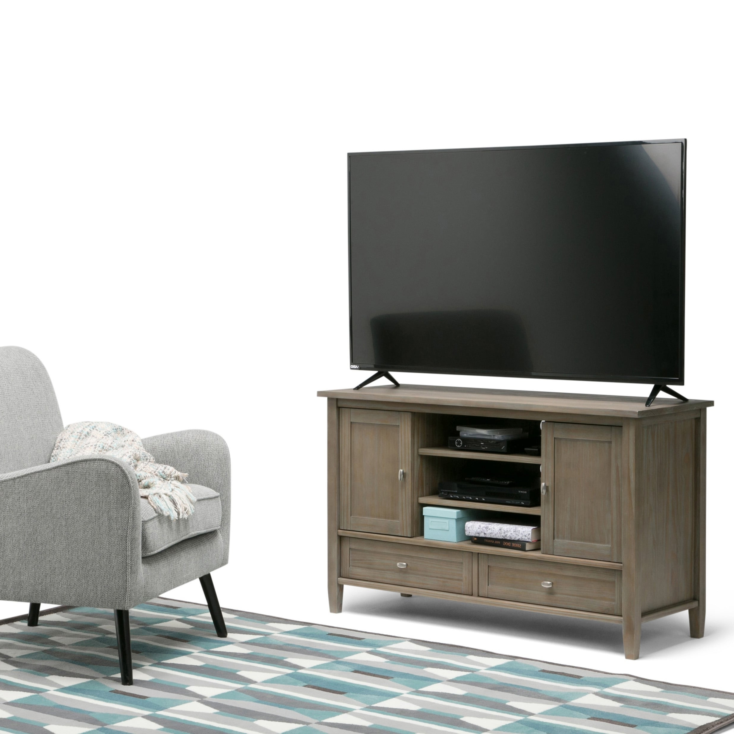 Most Current Deco Wide Tv Stands Pertaining To Wyndenhall Norfolk Solid Wood 47 Inch Wide Rustic Tv Media (View 1 of 10)