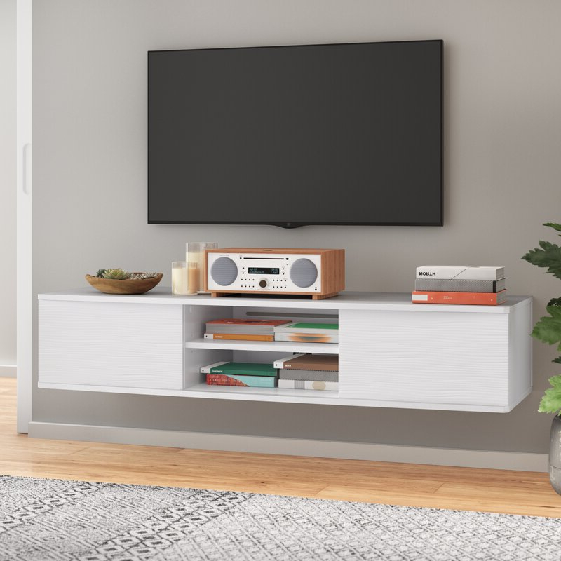 """Most Current Farmhouse Woven Paths Glass Door Tv Stands Intended For Agora Floating Tv Stand For Tvs Up To 65"""" & Reviews (View 2 of 10)"""