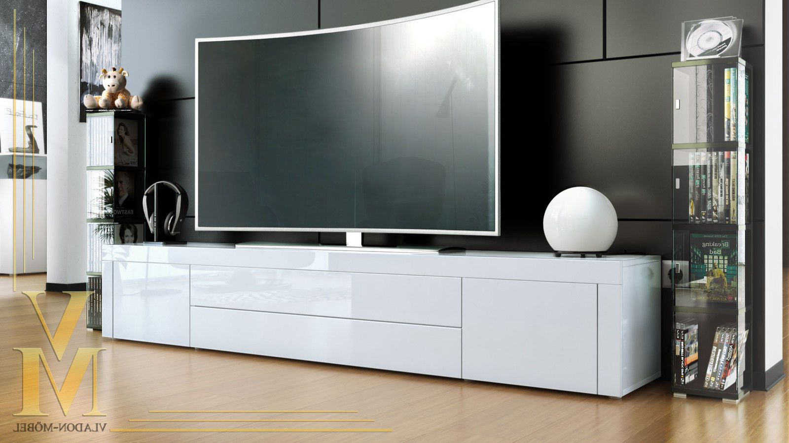 Most Current High Glass Modern Entertainment Tv Stands For Living Room Bedroom Regarding Tv Stand Board Unit Lowboard Cabinet La Paz White – High (View 9 of 10)