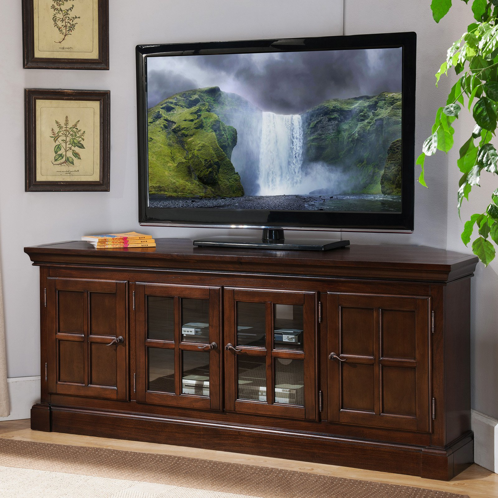 """Most Current Leick Home Bella Maison 56"""" Corner Tv Stand For Tv's Up To Within Totally Tv Stands For Tvs Up To 65"""" (View 11 of 25)"""