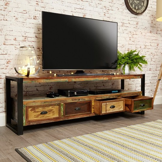 Most Current London Urban Chic Wooden Large Tv Stand With 4 Drawers Within Chromium Extra Wide Tv Unit Stands (View 5 of 10)