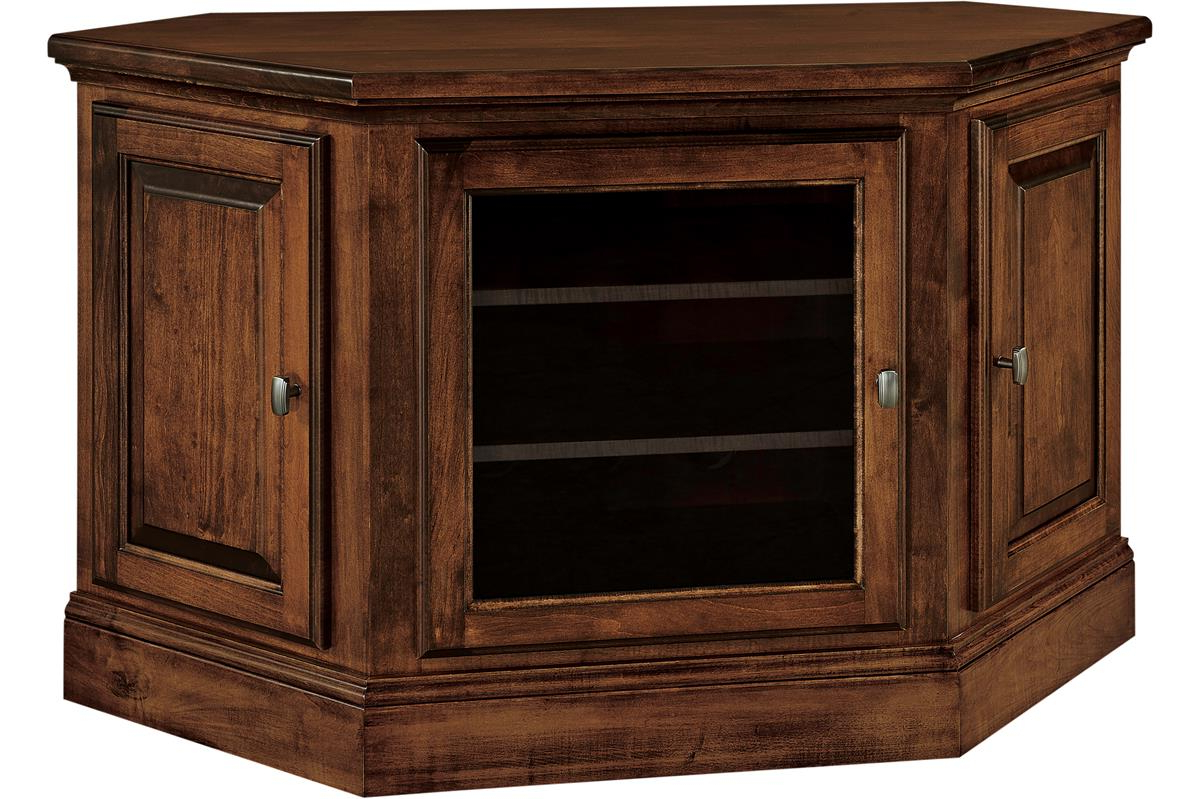 Most Current Lucy Cane Cream Corner Tv Stands For Amish Kincade Corner Tv Stand (View 10 of 25)