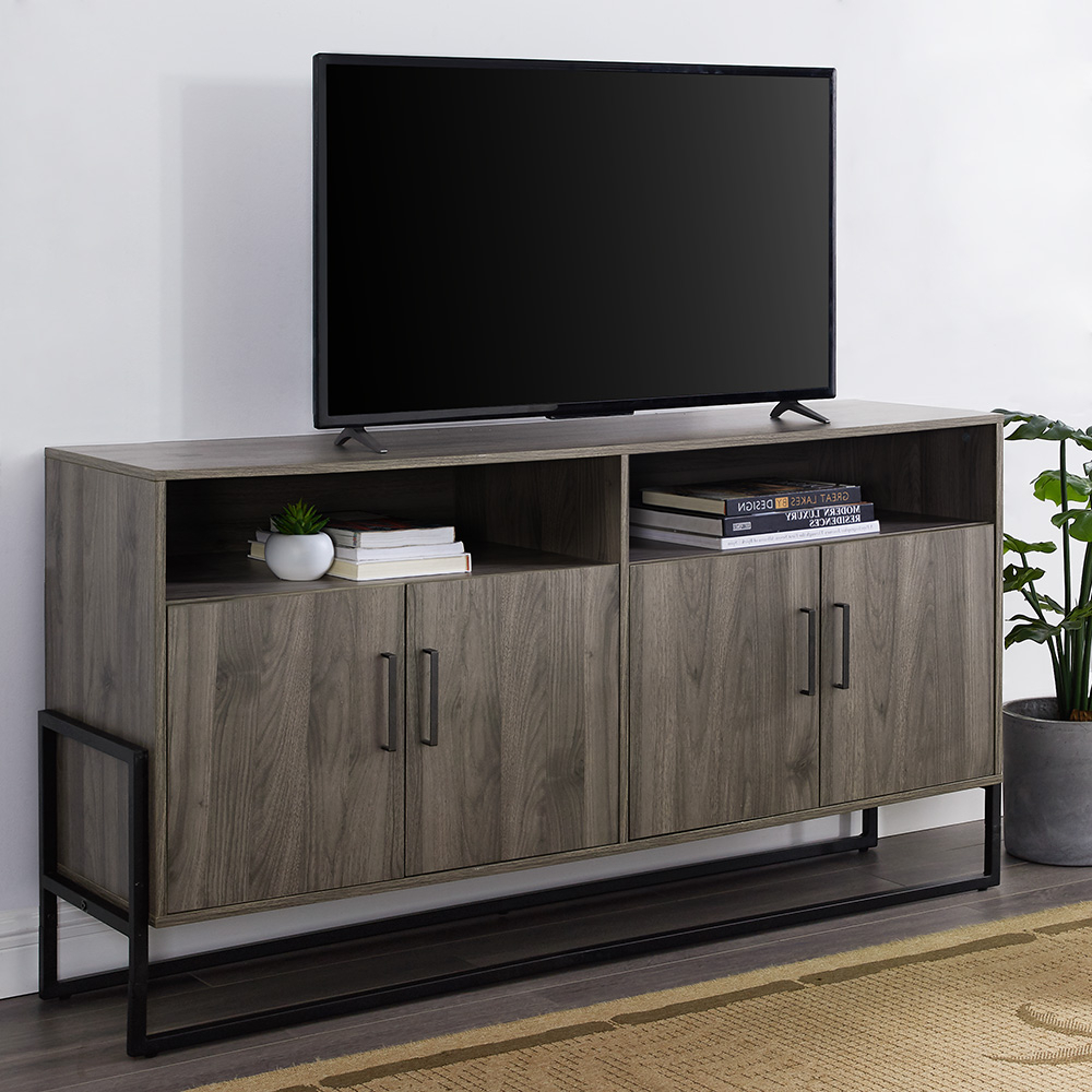 """Most Current Manor Park 4 Door Sideboard Tv Stand For Tvs Up To 65 Regarding Totally Tv Stands For Tvs Up To 65"""" (View 3 of 25)"""