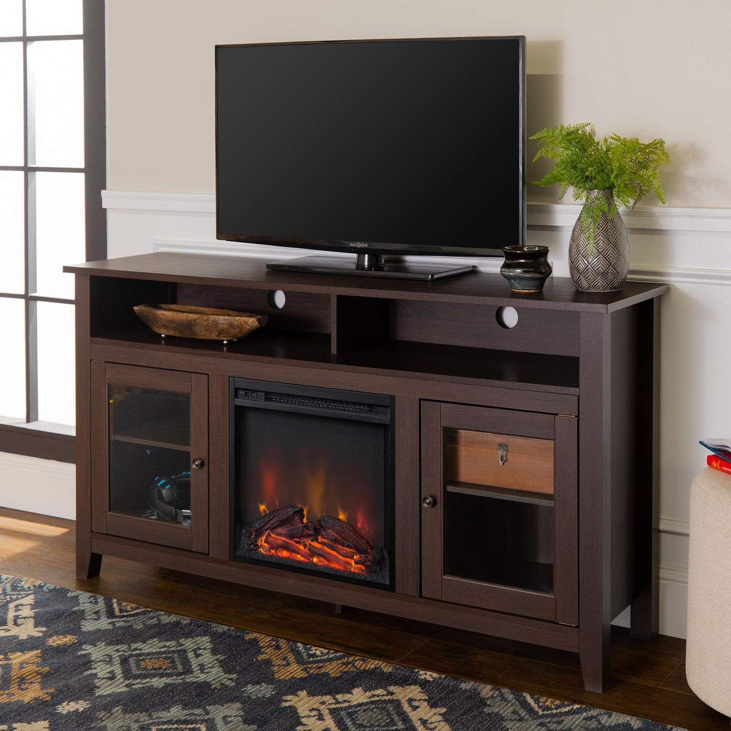 """Most Current Manor Park Modern Highboy Fireplace Tv Stand For Tvs Up To Within Evelynn Tv Stands For Tvs Up To 60"""" (View 2 of 25)"""